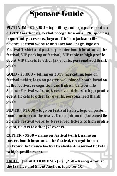 Jacksonville Science Festival sponsor pdf