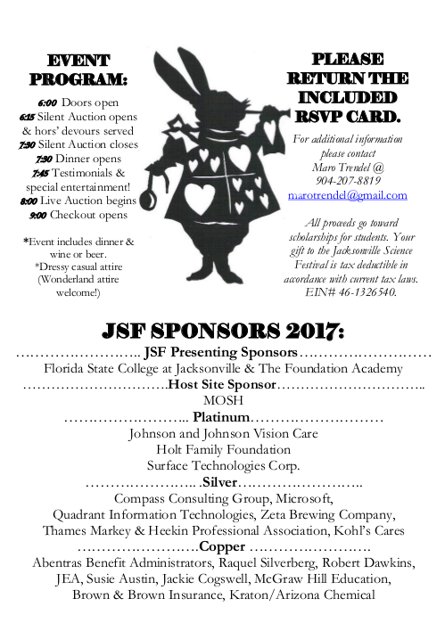 Jacksonville Science Festival Auction Invitation 20182